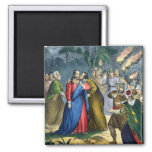 Judas Betrays his Master, from a bible printed by Fridge Magnets