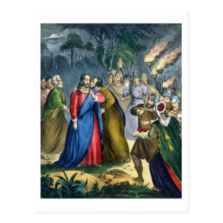 Judas Betrays his Master, from a bible printed by Postcard