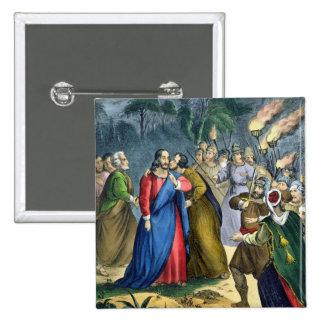 Judas traiciona su amo, de una biblia impresa cerc pin cuadrada 5 cm