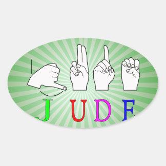 JUDE ASL FINGERSPELLED NAME SIGN OVAL STICKER