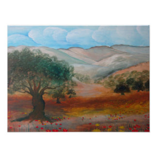 Judea Hills, Ben Shemen Forest, Israel. Paint Print