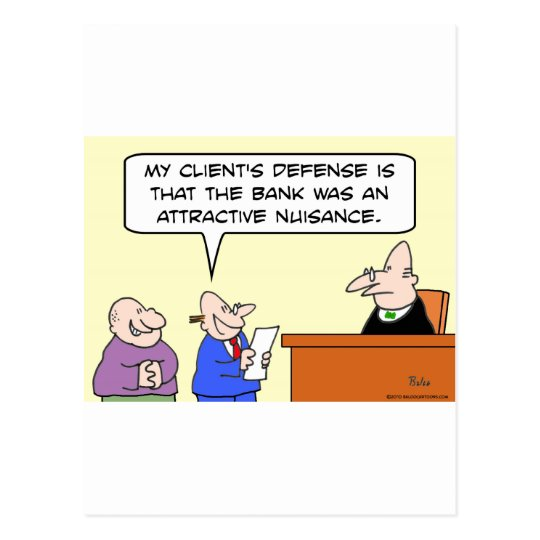 judge bank robber attractive nuisance postcard