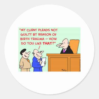 judge birth trauma round sticker