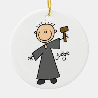 Judge Stick Figure Ceramic Ornament