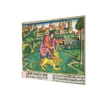 Judges 14 5-9 Samson slays the lion, from the 'Nur Canvas Print