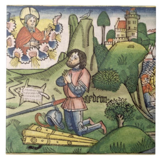 Judges 6 36 Gideon puts out the fleece, from the ' Large Square Tile