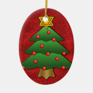 Judío-Navidad Adorno Navideño Ovalado De Cerámica