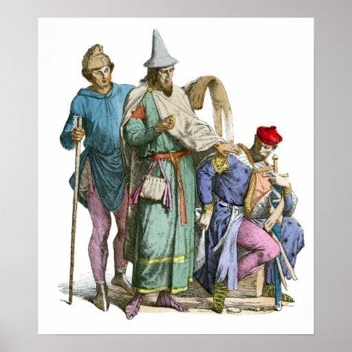 Judío y caballero medievales - trajes de período póster