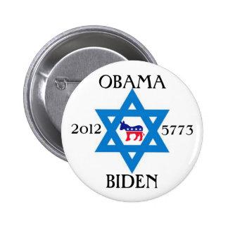 Judíos para Obama Biden 2012 Pin Redondo De 2 Pulgadas