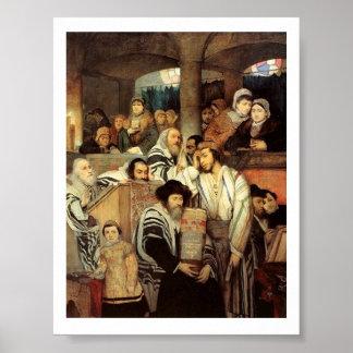 Judíos que ruegan en la impresión judía del poster