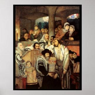 Judíos que ruegan por Maurycy Gottlieb - circa 187 Póster