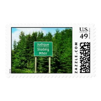 Judique, Cape Breton: English/Gaelic Road Sign Stamp