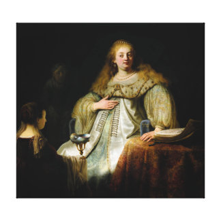 Judith at the banquet of Holofernes by Rembrandt Canvas Print