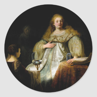 Judith at the banquet of Holofernes by Rembrandt Classic Round Sticker