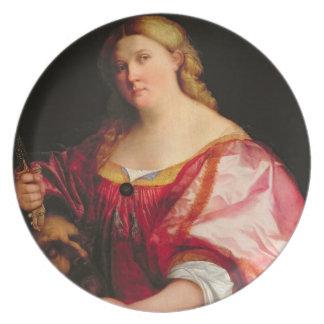 Judith, c.1525-28 (aceite en lona) plato de comida