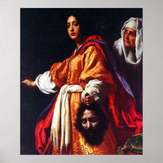 Judith con el jefe de Holofernes Poster