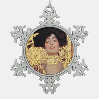 Judith,femme fatale,painted by Gustav Klimt, art Snowflake Pewter Christmas Ornament