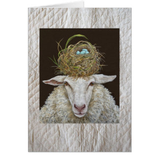 Judith the sheep card on quilted background