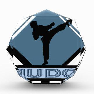 Judo blue diamond acrylic award
