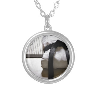Judo Gi on Tatami mat Silver Plated Necklace