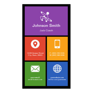 Judo Martial Arts Lessons Colorful Tiles Creative Business Card