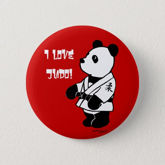 Judo Panda Cartoon with a Black Belt Pinback Button