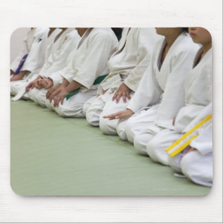 Judo player of the child sits down to one line mouse pad