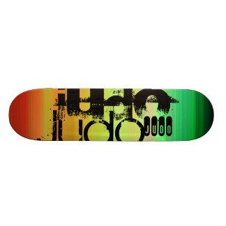 Judo; Vibrant Green, Orange, & Yellow Skateboard
