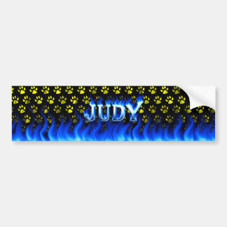 Judy blue fire and flames bumper sticker design. car bumper sticker