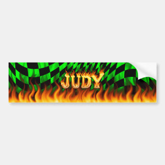 Judy real fire and flames bumper sticker design. car bumper sticker