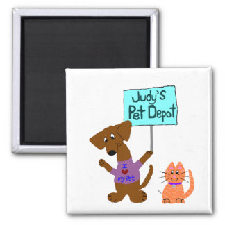 Judy's Pet Depot 2 Inch Square Magnet