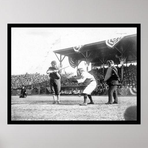 Juego 1909 de los senadores béisbol de los yanquis póster