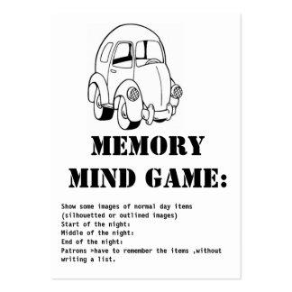 juego-car de la mente de la memoria tarjetas de visita grandes