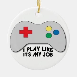 Juego como su mi trabajo adorno navideño redondo de cerámica