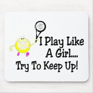 Juego como un intento del chica para continuar ten mousepads