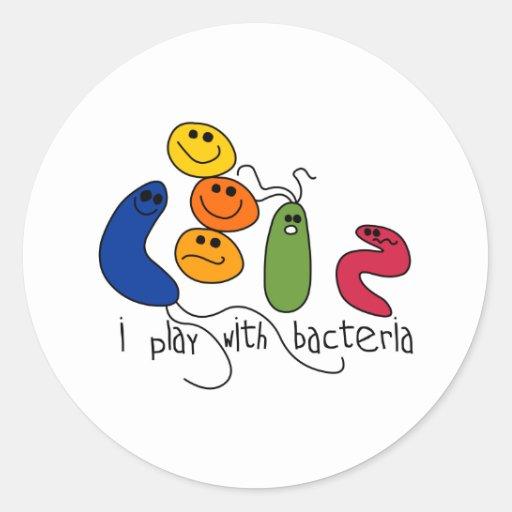 Juego con las bacterias pegatina redonda