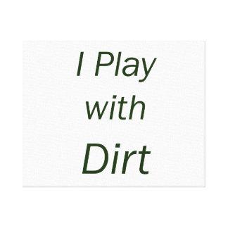 Juego con las letras del verde de la suciedad impresiones en lona