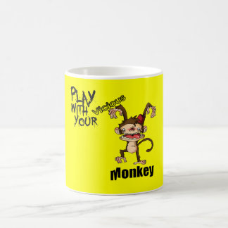 Juego con su copia del anuncio del mono tazas