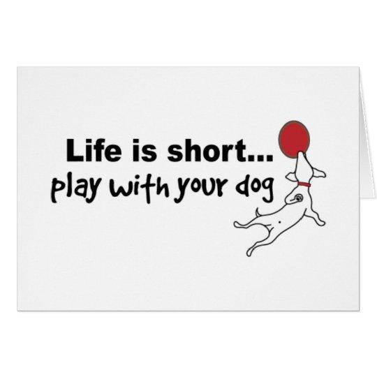 Juego con su perro tarjeta de felicitación