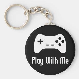 Juego conmigo videojuego (negro) llavero redondo tipo pin