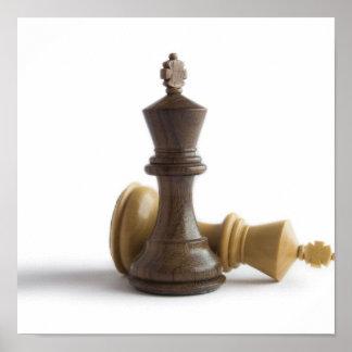 Juego de ajedrez sobre el poster