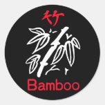 Juego de bambú, rojo y blanco de Mahjong en negro Pegatinas Redondas