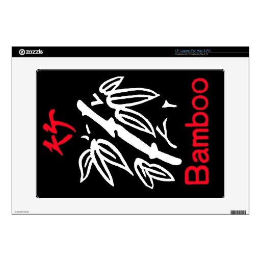 Juego de bambú, rojo y blanco de Mahjong en negro Skins Para 38,1cm Portátiles