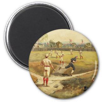 Juego de béisbol de antaño del vintage en 1887 imán redondo 5 cm