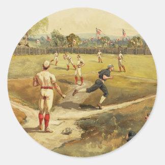 Juego de béisbol de antaño del vintage en 1887 pegatina redonda
