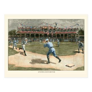 Juego de béisbol de la liga nacional 1886 tarjeta postal