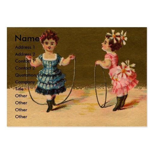 Juego de dos chicas con la cuerda y el aro tarjetas de visita grandes