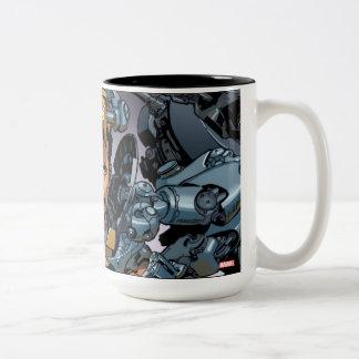 Juego de eliminación rígido del hombre del hierro taza de café de dos colores