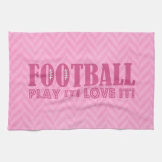 Juego de fútbol rosado de Chevron él amor él Toallas De Cocina