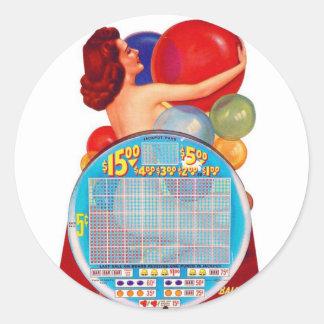 Juego de juego retro del kitsch 50s Punchboard del Pegatina Redonda